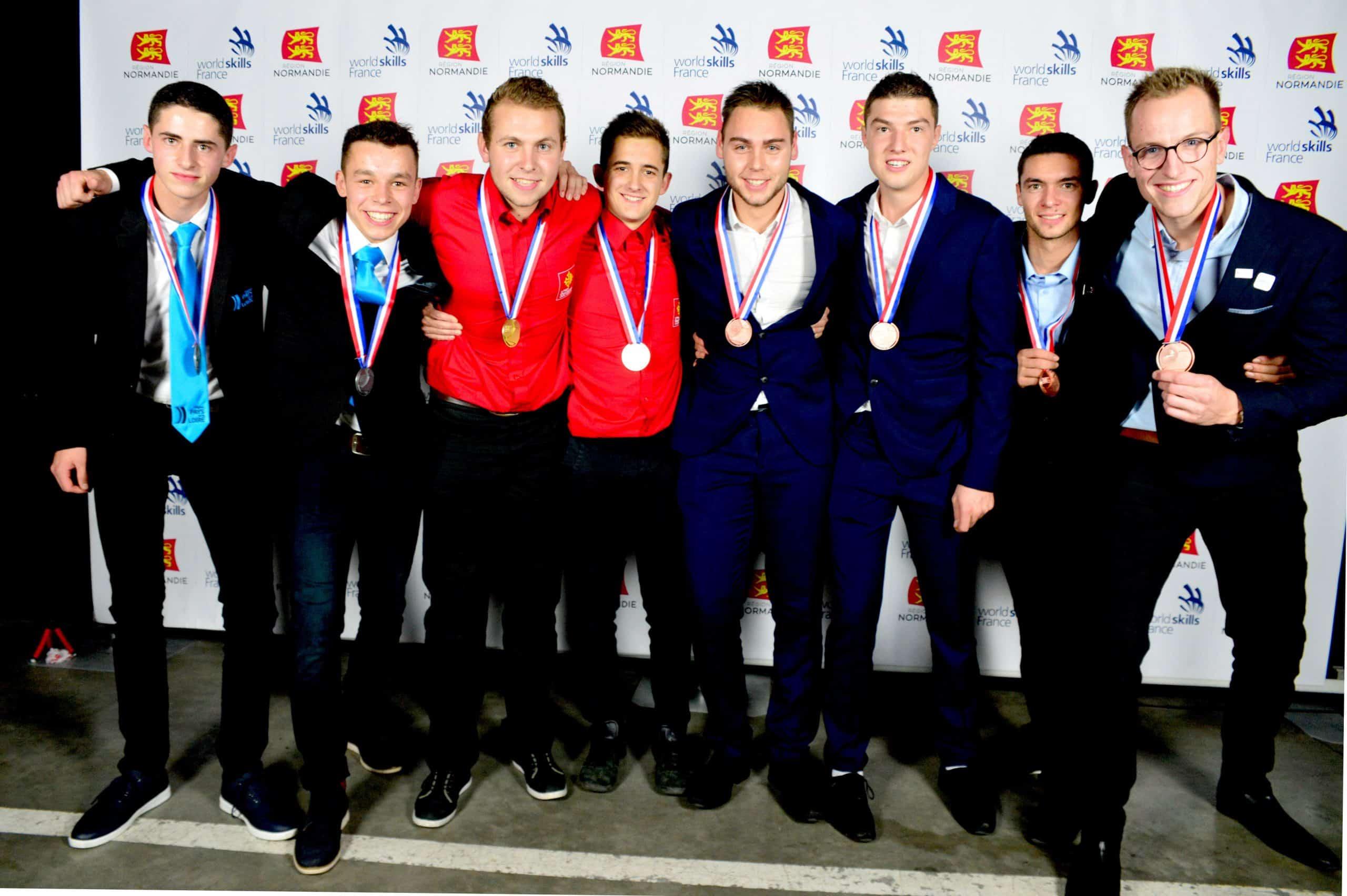 Les médaillés lors des Finales Nationales de Caen (Source : Worldskills France)