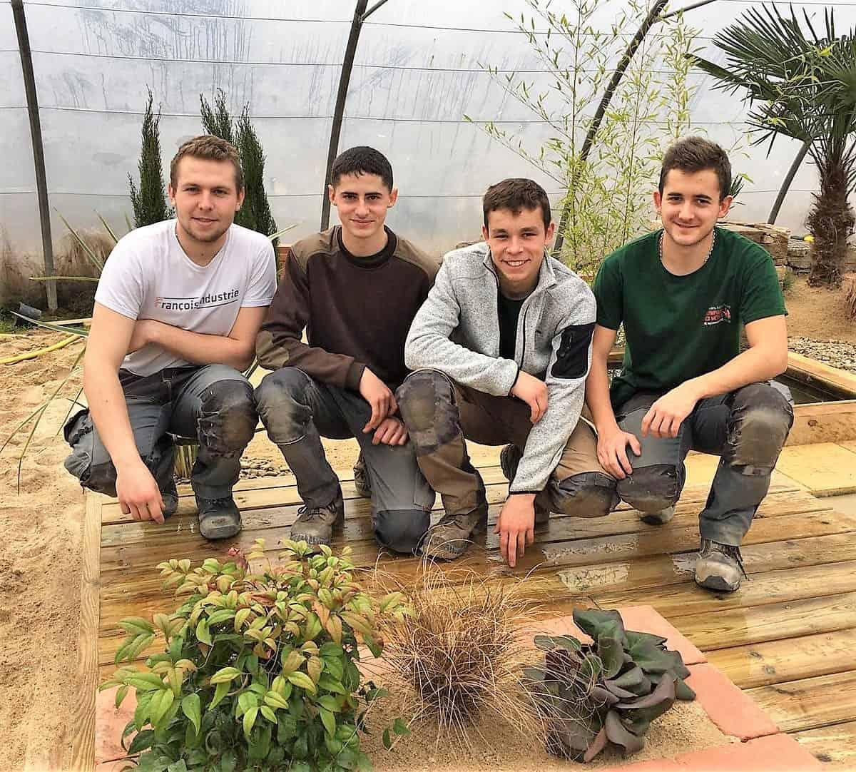 Les jardiniers-paysagistes de l'Equipe de France des Métiers lors de la 1ère semaine d'entrainement organisée au lycée Nature de la Roche-sur-Yon (85) début février