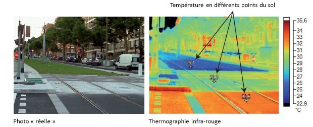 Clichés pris sur une voie du tramway parisien (T3) - Source : Apur (2012)